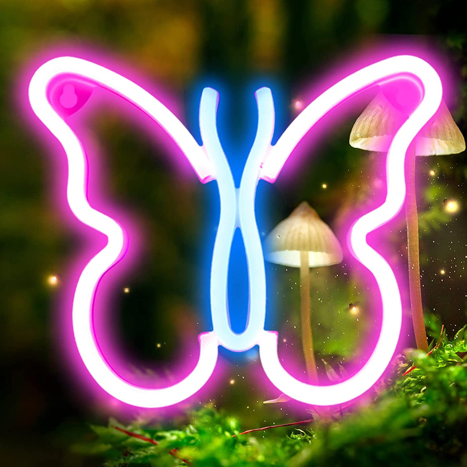 XIYUNTE Butterfly Neon Sign - Battery or USB Powered Neon Light for Wall Decor, Pink/Blue Led Neon Lighs Butterfly Neon Signs Light up for Bedroom, Living Room, Kids Room, Birthday Party