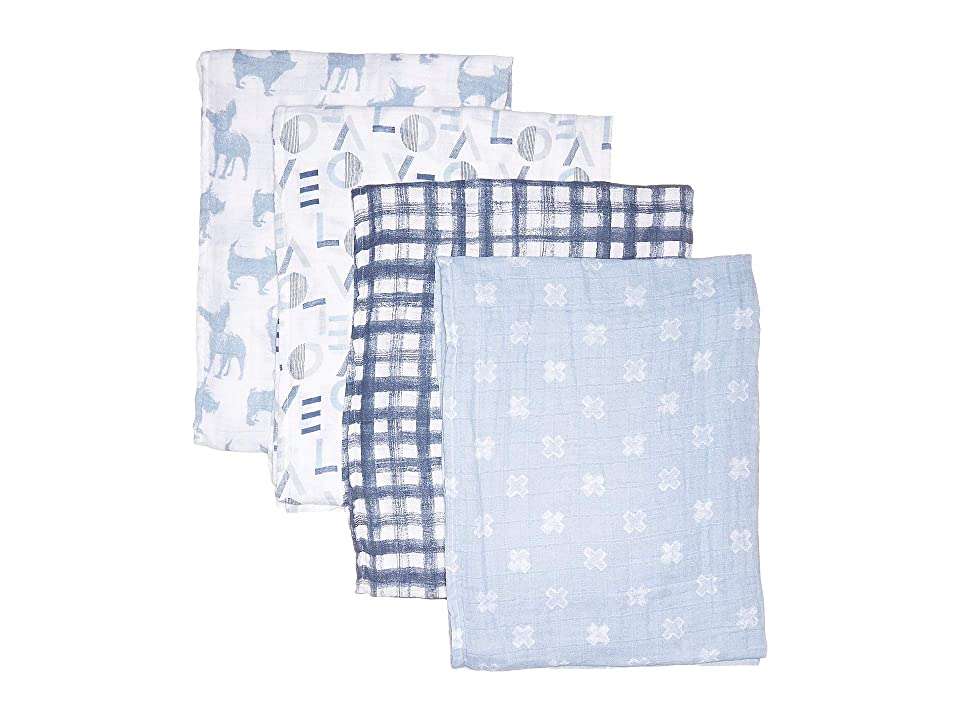 aden + anais Classic Swaddles 4-Pack (Blue Waverly) Sheets Bedding, Multi