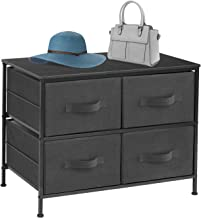 Sorbus Dresser with 4 Drawers - Furniture Storage Tower Unit for Bedroom, Hallway, Closet, Office Organization - Steel Frame, Wood Top, Easy Pull Fabric Bins (4-Drawer, Black/Charcoal)