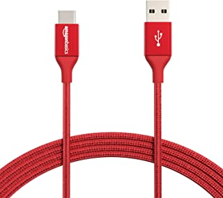 AmazonBasics Double Braided Nylon USB Type-C to Type-A 2.0 Male Cable, 10 Feet (3 Meters) - Red