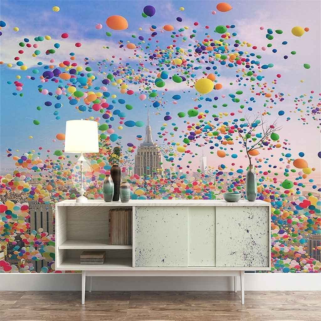 HWCUHL 3D Wall Stickers Mural Low price Sky Colorful SALENEW very popular! Mu Balloons Wallpaper