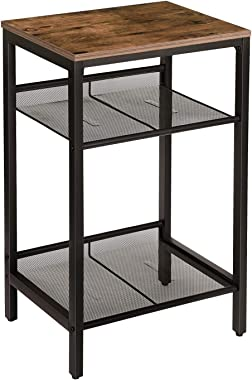 HOOBRO Side Table, Industrial End Telephone Table with Adjustable Mesh Shelves, for Office Hallway or Living Room, Wood Look Accent Furniture, Tall and Narrow, Easy Assembly, Rustic Brown BF01DH01