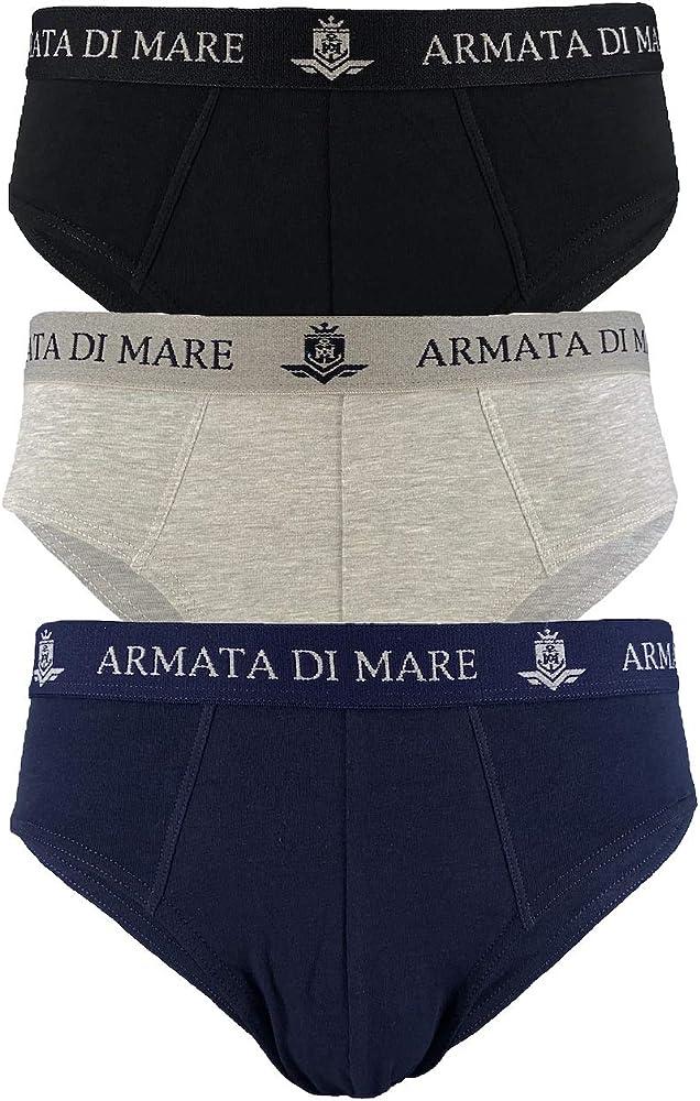 Armata di mare, 3 paia di mutande , slip per uomo, in cotone elasticizzato , nero , grigio , blu