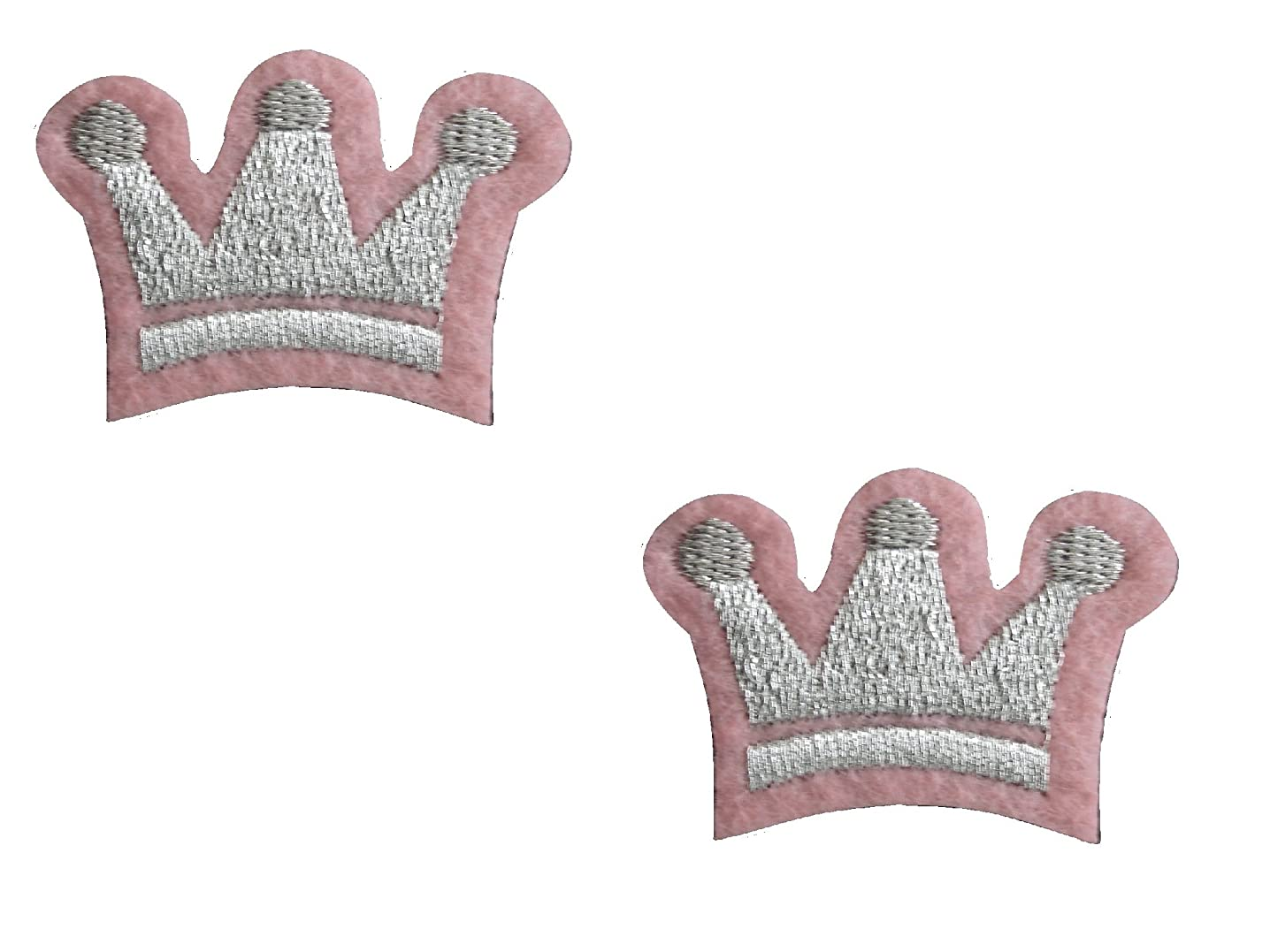 2 small pieces CROWN Iron On Patch Fabric Children Motif Applique Princess King Decal 1.6 x 1.2 inches (4 x 3 cm)