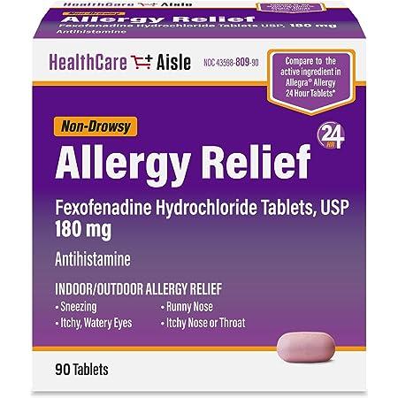 HealthCareAisle Allergy Relief, Fexofenadine Hydrochloride Tablets, Antihistamine, 24 Hour Relief, Non-Drowsy, 180 mg, 90 Count