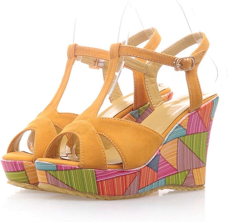 Houfeoans Women Candy colors Summer Beach Sandals Gladiator Platform Wedges shoes Women High Heels shoes