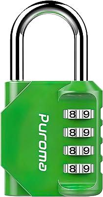 Puroma 1 Pack Combination Lock 4 Digit Padlock for School Gym Locker, Sports Locker, Fence, Toolbox, Case, Hasp Storage (Green)