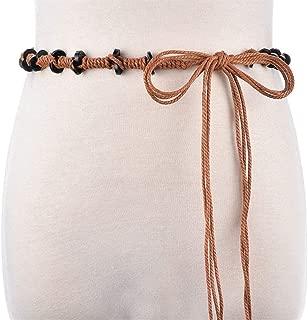 MYCHOMEU New Ethnic Wind Wax Rope Belt Waist Chain Accessory Dress Handmade Group Belt (Color : Black, Size : 160cm)