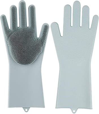 BRAVIK Set of 1 Pair, Dish Washing Gloves with Wash Scrubber Silicone Gloves Heat Resistant Reusable Gloves   Scrubber & Sponge for Vegetable, Fruit & Mess Cleaning Tool (Multi Color)