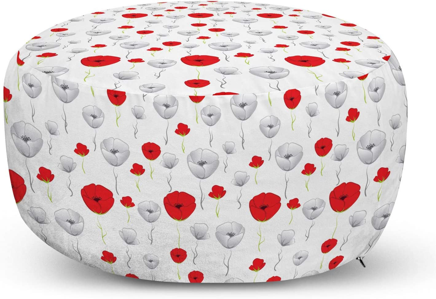 Ambesonne Poppy Flower Pouf Cover with Some reservation Spring Max 45% OFF Blo Tender Zipper