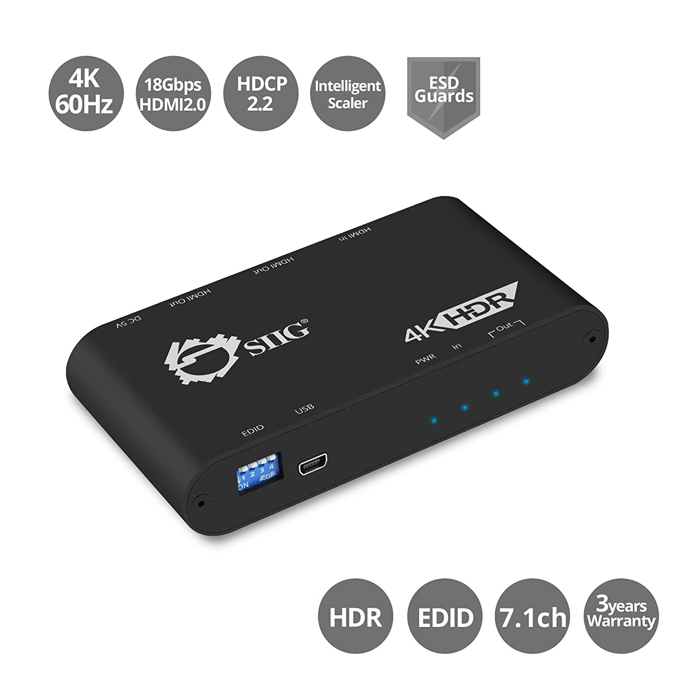 SIIG 4K 1x2 HDMI Splitter with EDID Management | 4:4:4, 4K @60Hz, HDCP 2.2, 18Gbps | Auto Scaling, Low Heat | 1 in 2 Out