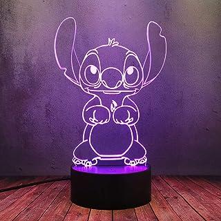 Cable USB 16 Color Brillo noche luz LED dibujos animados lindo anime Stitch cachorro muñeca creativo 3D lámpara de mesa lava flash luces iluminación sueño hogar dormitorio decoración niño regalo