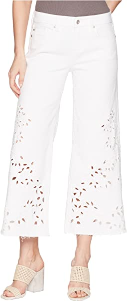Liverpool - LVPL by Liverpool Callie Cropped Wide Leg with Cut Out Eyelet Embroidery in Comfort Stretch Denim in Bright White