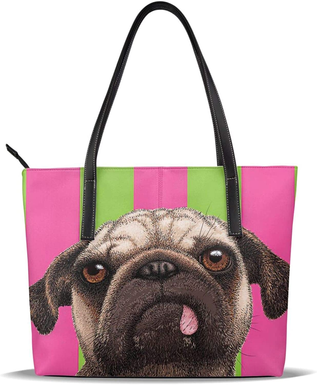depot Cool Funny Pug Dog Green And Latest item Pat Stripes Pu Leather Printed Pink