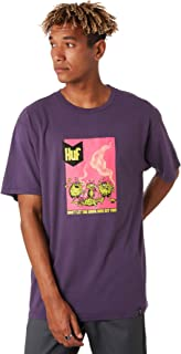 Huf Men's Drug Bugs Mens Tee Crew Neck Short Sleeve Cotton Velvet Purple