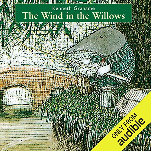 The Wind in the Willows cover art, a sketched image of Mole fishing on the riverbank.