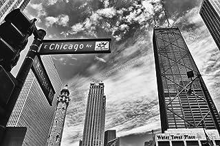 Chicago Michigan Avenue Street Sign Chicago Illinois Black a