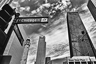 Chicago Michigan Avenue Street Sign Chicago Illinois Black and White Photo Art Print Cool Huge Large Giant Poster Art 54x36