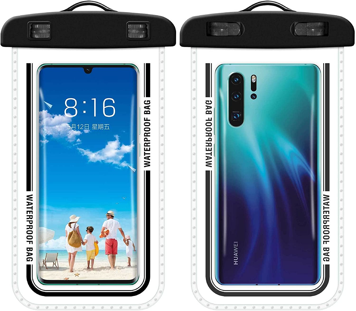 2Pieces Universal Waterproof Phone Pouch Underwater Clear Phone Case Cellphone Dry Bag Pouch with Lanyard Outdoor Beach Swimming Snorkeling for Smartphone up (Black)