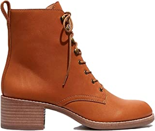 Women's Fashion Leather Ankle Booties Causal 8-Eye Lace-up Combat Boots