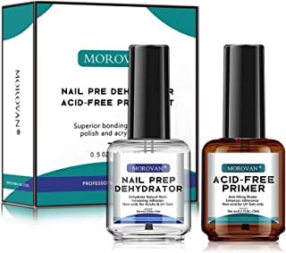 Morovan Nail Prep Dehydrator and Primer Set - Professional Natural Dehydrate X-Strength Acid-Free Primer Superior Protein ...
