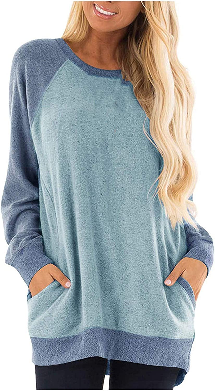 BlaCOG Womens Max 70% OFF Casual Crewneck San Diego Mall Long Sweatshirts Oversized Sleeve