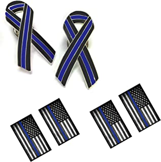 Police Lapel Pin Thin Blue Line 1 Inch Police Ribbon Pin Thin Blue Line American Flag Decals - Package of Two