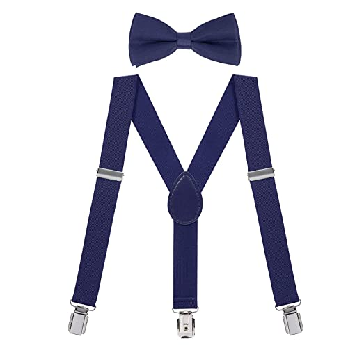 Boys and Girls Kid n Me Kids Adjustable Elastic Suspenders And Bow Tie Gift Set Solid Color Perfect for Babies Toddlers