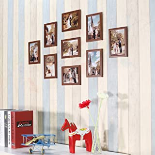 Art Street - Parallel Set of 9 Individual Brown Wall Photo Frame 6x8 inch