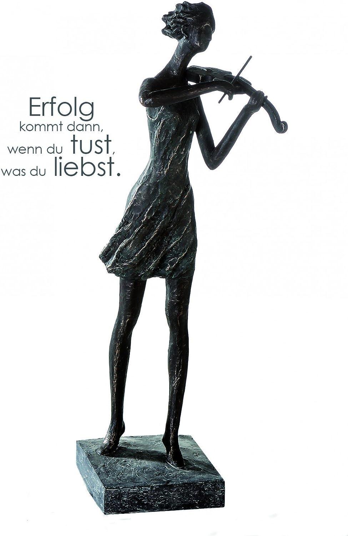 CasaWeißa Skulptur ' Violinenspielerin ' Polyresin 50 cm bronzefarben auf Grauer Basis