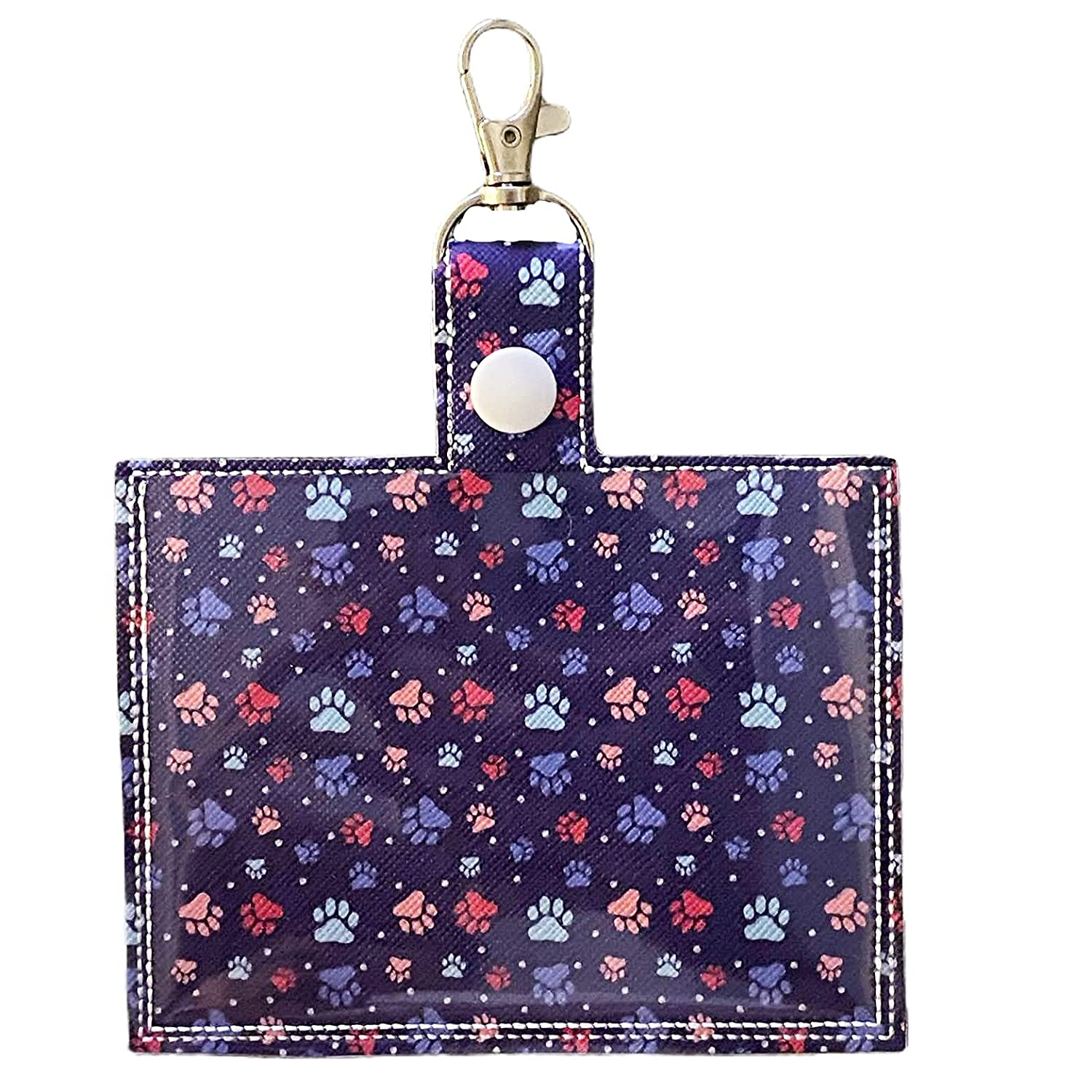 Sale price Indianapolis Mall Patterned Vaccine Card Holder Keychain Clip Paws Navy on with