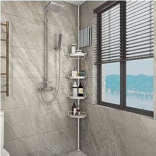 Lukzer 4 Layer Multipurpose Kitchen Bathroom Corner Shelf Shower Caddy Stainless Steel Tripod Storage Rack with Hanging Ho...