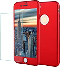 iPhone 8 Plus Case,iPhone 7 Plus Full Body Shockproof Protective Hard PC Case Ultra Thin Dual Layer Cover with Tempered Glass Screen Protector for iPhone 8 Plus (red-78p)