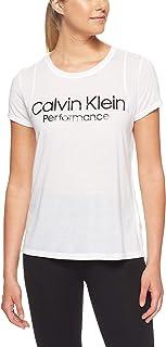Calvin Klein Women's S/S Logo Tee, White/Black