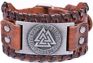 Vintage Amulet Nordic Runes Odin's Symbol of Warriors Valknut Charm Brown Belt Buckle Bracelet