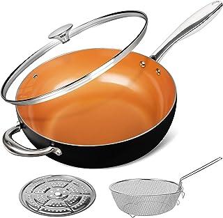 MICHELANGELO 5 Quart Nonstick Woks and Stir Fry Pans With Lid, Frying Basket & Steam Rack, Nonstick Copper Wok Pan With Li...
