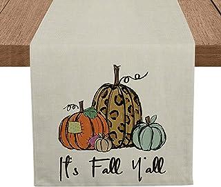 مفرش طاولة Artoid Mode It's Fall Y'all Pumpkins ، مفرش مائدة موسمي لحصاد الخريف طاولة الطعام كتان للاستخدام في الأماكن الم...