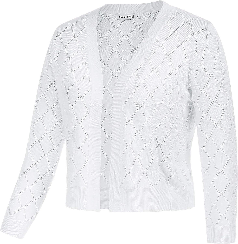 GRACE KARIN Women Lightweight 3/4 Sleeve Cardigan Open Front Crocheted Shrug Knit Sweater