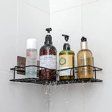 2 Pack Corner Shower Caddy Shelf Stainless Steel Shower Shelf with Adhesive Hooks Storage Organizer for Bathroom, Toilet, Kit