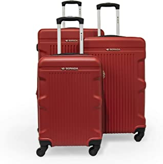 Zygara by Sonada - Hard Case Spinner Luggage set of 3 Pieces, Red