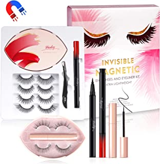 Invisible Magnetic Eyelashes, Viciley 3D Magnetic Lashes and Eyeliner Portable Kit, Luxurious Fake Eyelashes 6 Pairs, Magn...