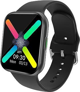 スマートウォッチ 腕時計 smart watch スマートブレスレット スポーツウォッチ 1.54インチ大画面 活動量計 着信通知 音楽再生 睡眠検測 長座注意 IP67防水 iPhone/Android対応 日本語取扱説明書 (Black)