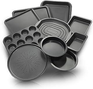 10-Pc. Nonstick Bakeware Set | Chef Favorites: Baking Sheets, Baking Pans, Roasting Pan, Pizza Pan, Crisper Pan, Cake Pans & More | Durable Carbon Steel Baking Set | Prime Housewarming & Wedding Gift