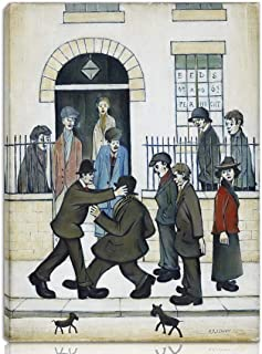 Berkin Arts L.S. Lowry Stretched Giclee Print On Canvas-Famous Paintings Fine Art Poster Reproduction Wall Decor-Ready to Hang(A Fight)#NK