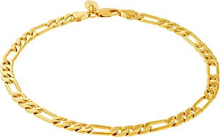 Ankle Bracelets for Women Men and Teen Girls [ 5mm Figaro Chain Anklet ] 20X More Real 24k Gold Plating Than Other Foot Jewelry - Lifetime Replacement Guarantee 9 10 and 11 inches