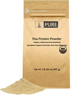 Organic Pea Protein Powder (2 lbs) 100% Pure & Natural, Non-GMO & Allergen-Free, Eco-Friendly Packaging