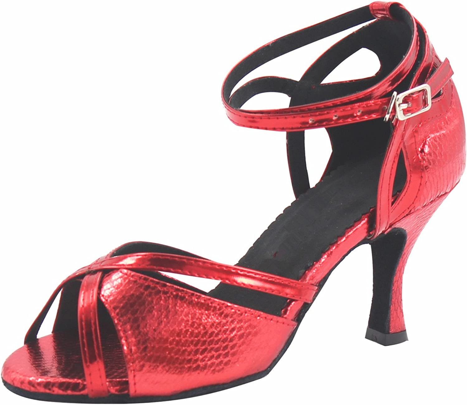 MsMushroom Woman's Shinning Patent Leather Party shoes 2.5''heel,red