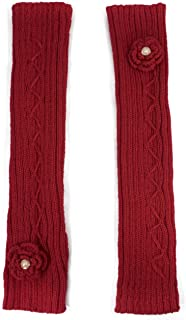Dahlia Women's Hand Crochet Flower Acrylic Fingerless Arm Warmer Gloves