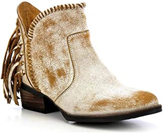 a3cf1102510 Corral Urban Women s Back Fringe Braided Top Distressed White Leather  Shortie Cowboy Boots