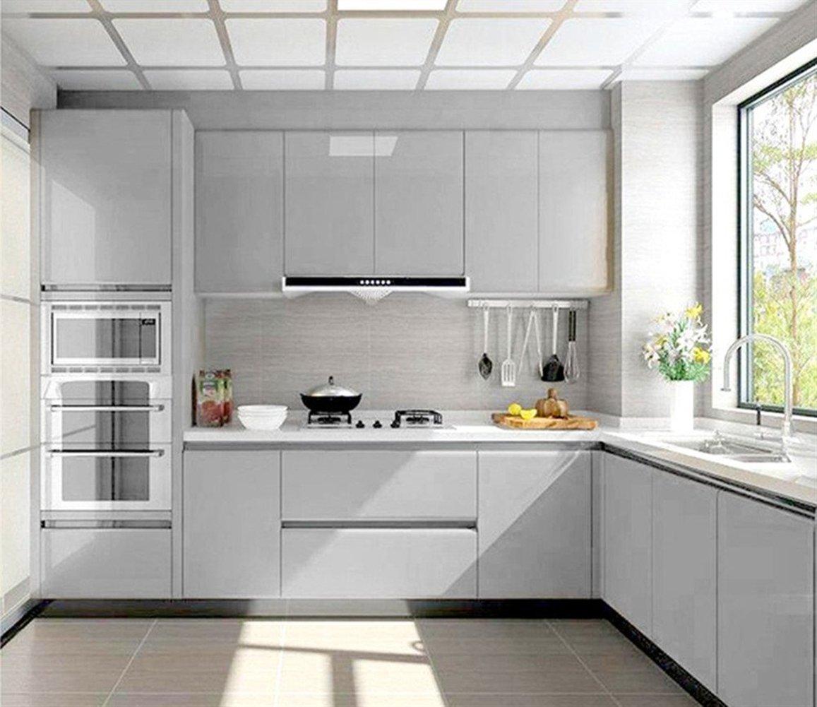 Liveinu - Papel pintado autoadhesivo de color liso para armario de cocina de PVC, impermeable, para pared, para decoración de dormitorio, salón o muebles, gris, ISA-GXSM-1182-10-8: Amazon.es: Bricolaje y herramientas